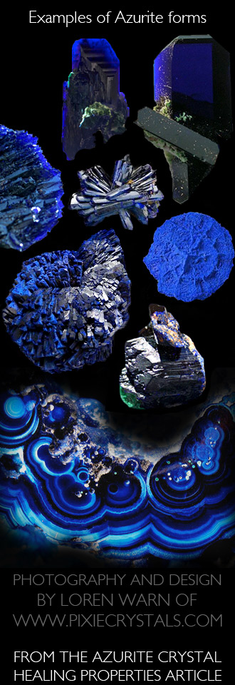 AZURITE Crystals - such a wide variety of forms, shapes and types! - Pixie Crystals