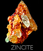 Zincite Crystals - orange, silver green