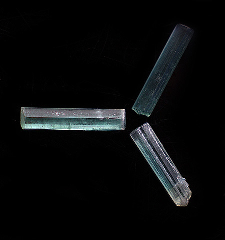 3 Natural Tourmaline crystals
