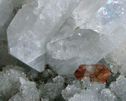 Large Cubic Calcite with Red Red Stilbites